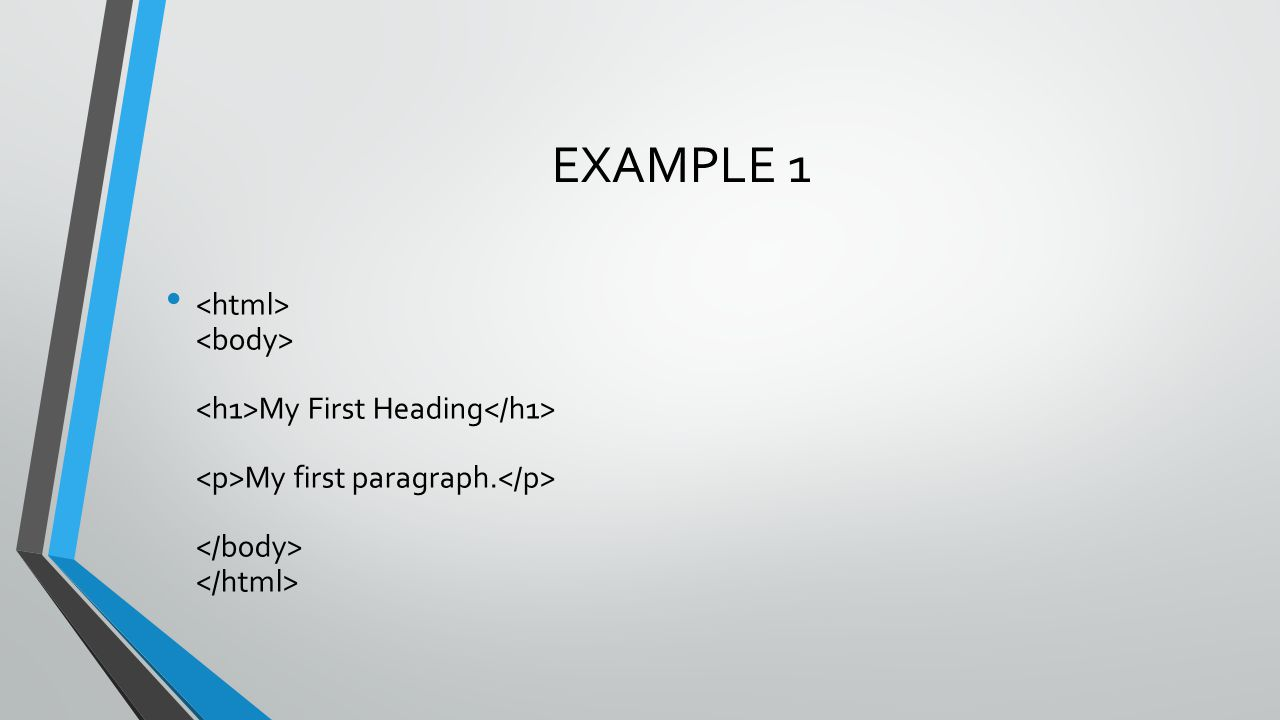 Example Explained The text between and describes the web page The text between and is the visible page content The text between and is displayed as a heading The text between and is displayed as a paragraph
