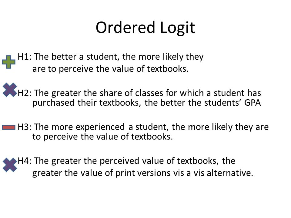 Ordered Logit H1: The better a student, the more likely they are to perceive the value of textbooks.