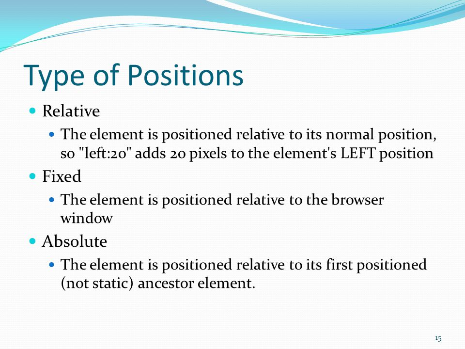 Type of Positions Relative The element is positioned relative to its normal position, so