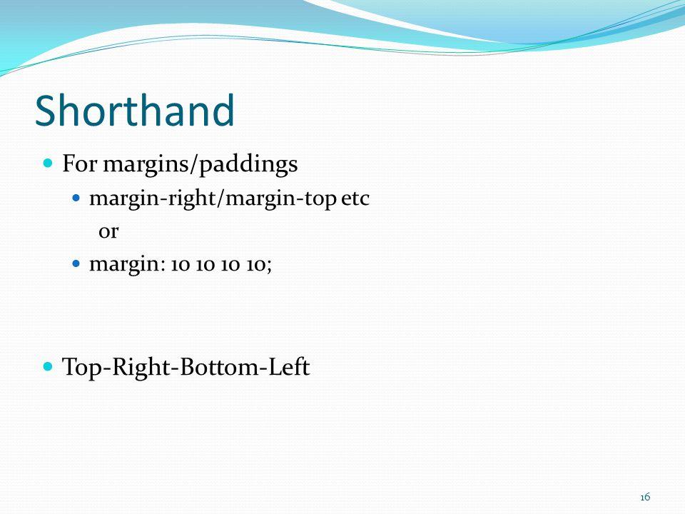 Shorthand For margins/paddings margin-right/margin-top etc or margin: 10 10 10 10; Top-Right-Bottom-Left 16