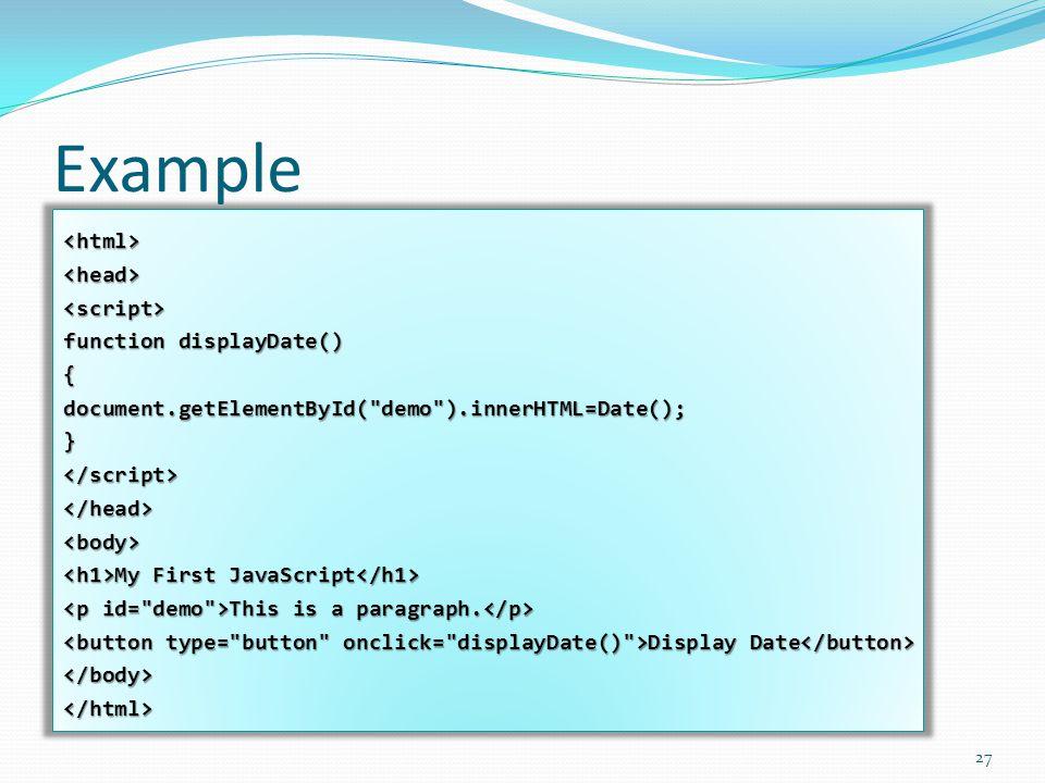 Example <html><head><script> function displayDate() {document.getElementById(