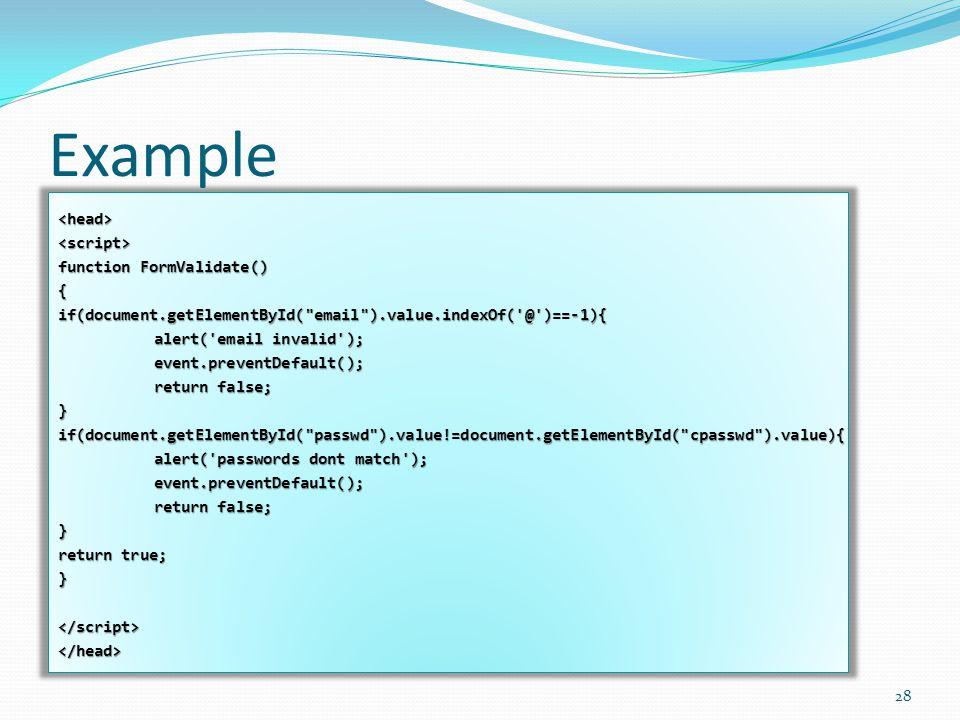 Example <head><script> function FormValidate() {if(document.getElementById(