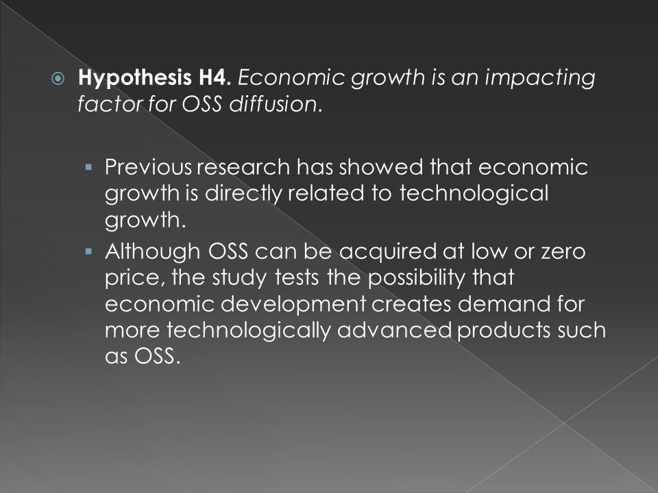  Hypothesis H4. Economic growth is an impacting factor for OSS diffusion.