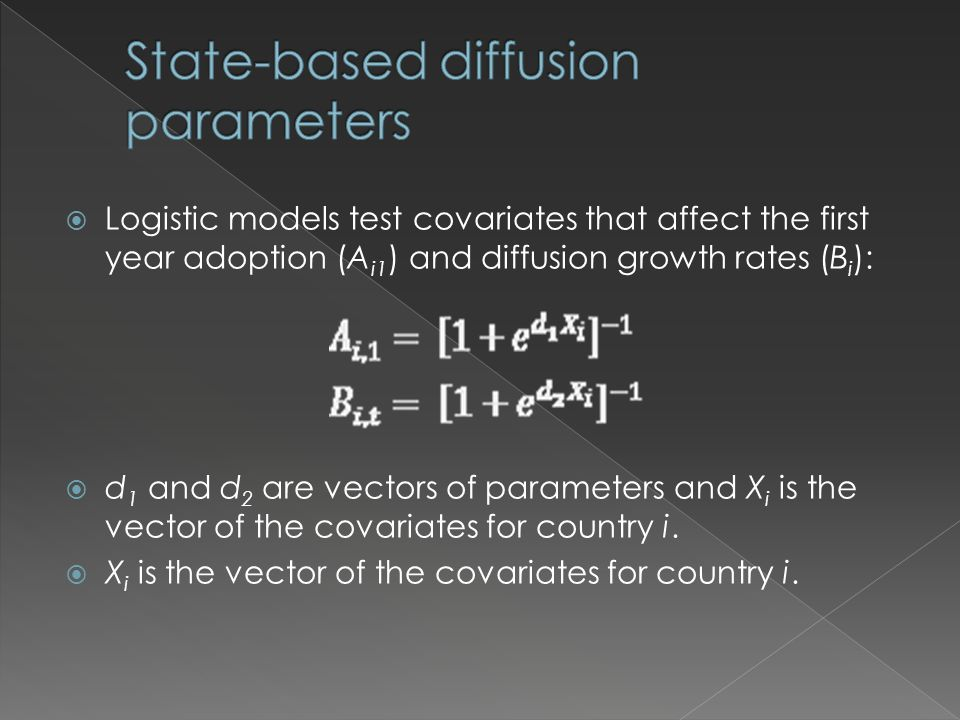  Logistic models test covariates that affect the first year adoption (A i1 ) and diffusion growth rates (B i ):  d 1 and d 2 are vectors of parameters and X i is the vector of the covariates for country i.