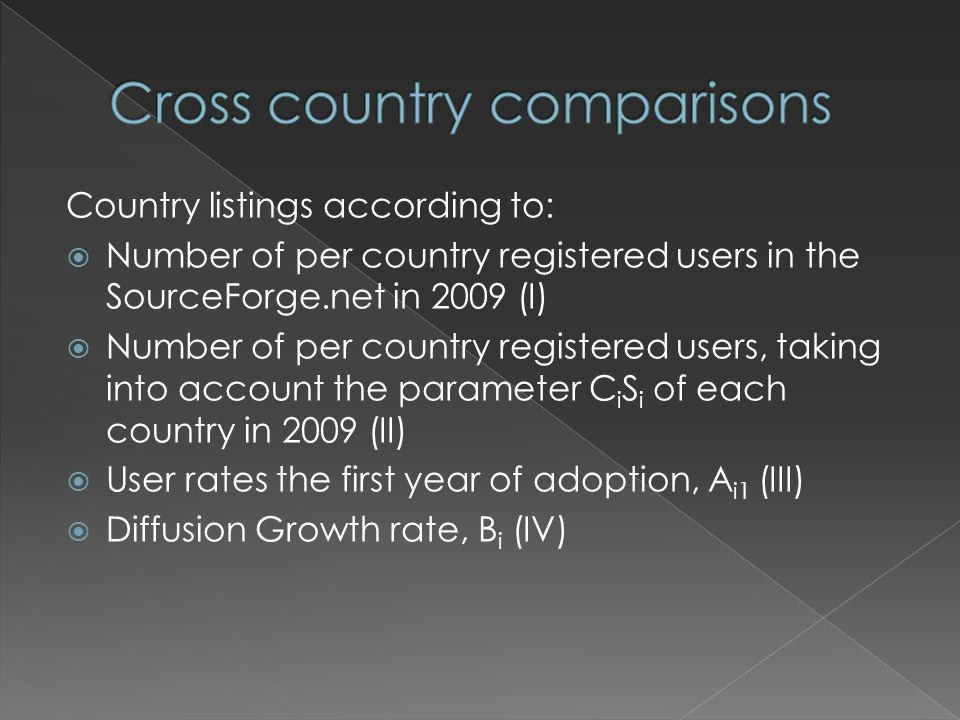 Country listings according to:  Number of per country registered users in the SourceForge.net in 2009 (I)  Number of per country registered users, taking into account the parameter C i S i of each country in 2009 (II)  User rates the first year of adoption, A i1 (III)  Diffusion Growth rate, B i (IV)