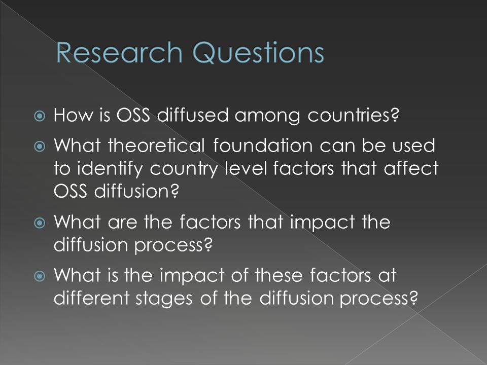  How is OSS diffused among countries.