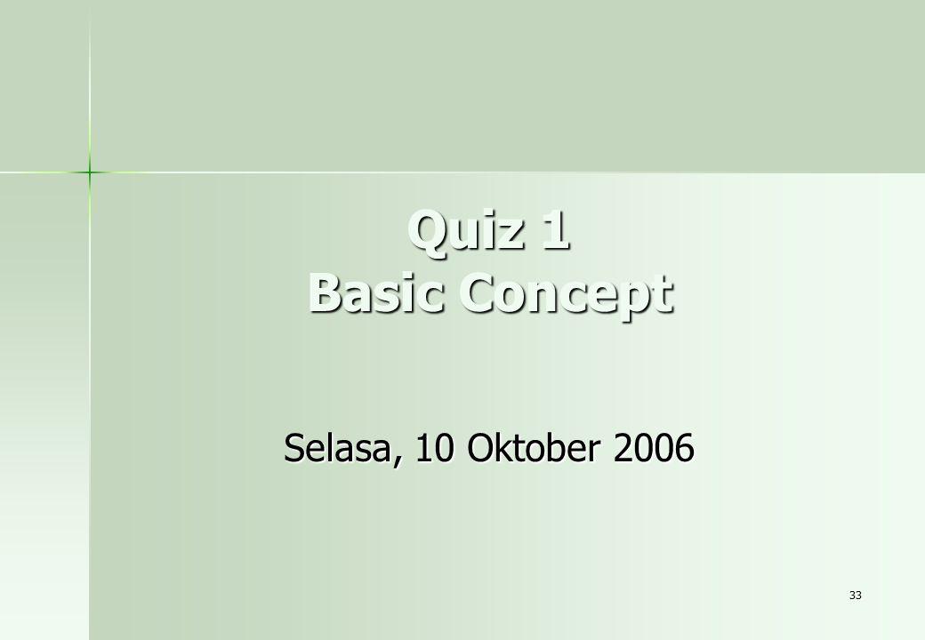 33 Quiz 1 Basic Concept Selasa, 10 Oktober 2006