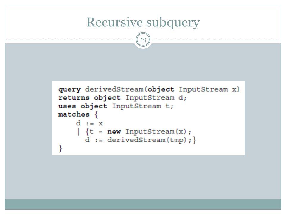 Recursive subquery 19