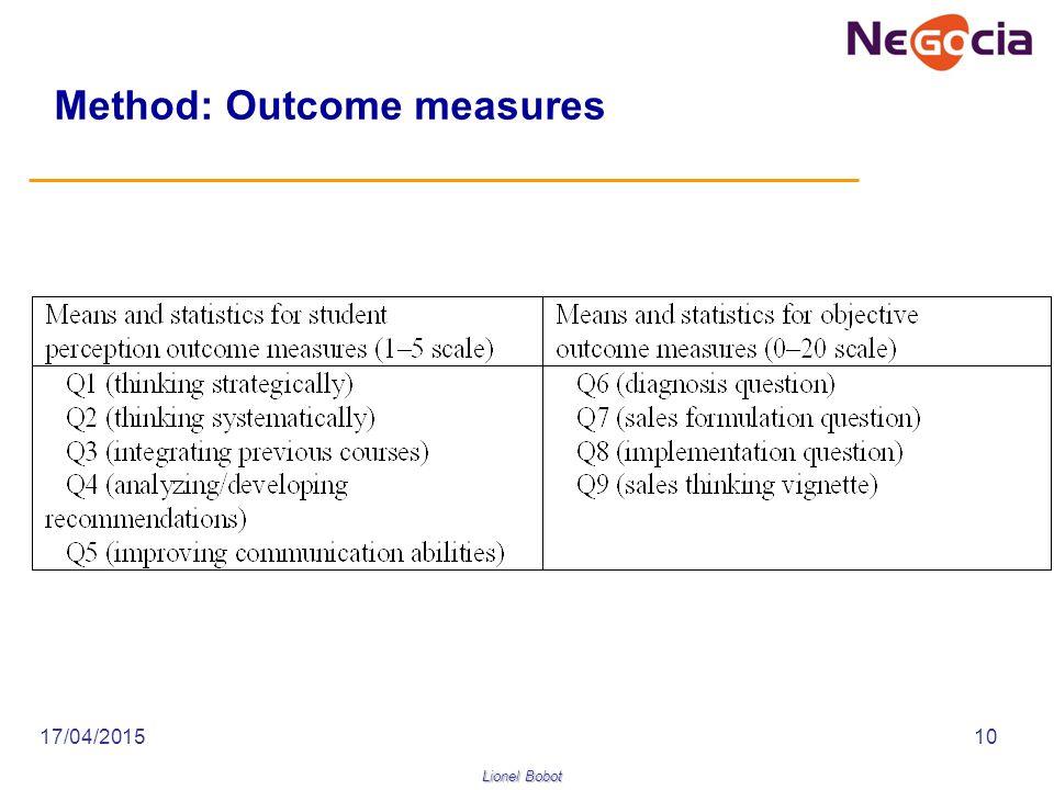 Lionel Bobot 17/04/201510 Method: Outcome measures