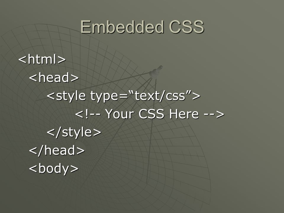 Embedded CSS <html><head> </style></head><body>