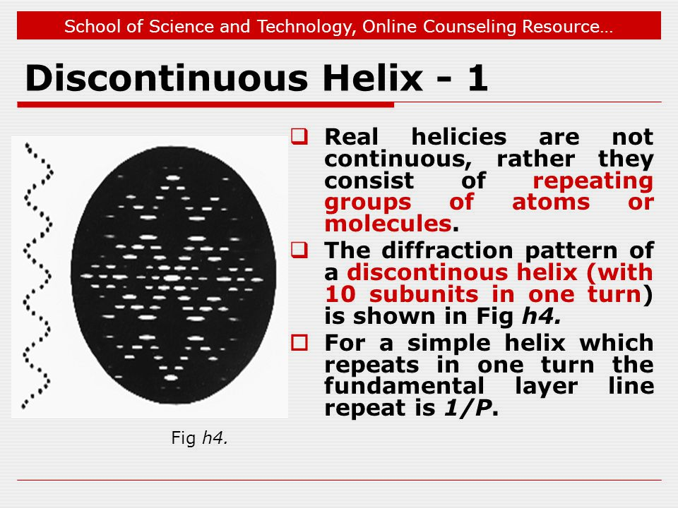 School of Science and Technology, Online Counseling Resource… Discontinuous Helix - 1  Real helicies are not continuous, rather they consist of repeating groups of atoms or molecules.
