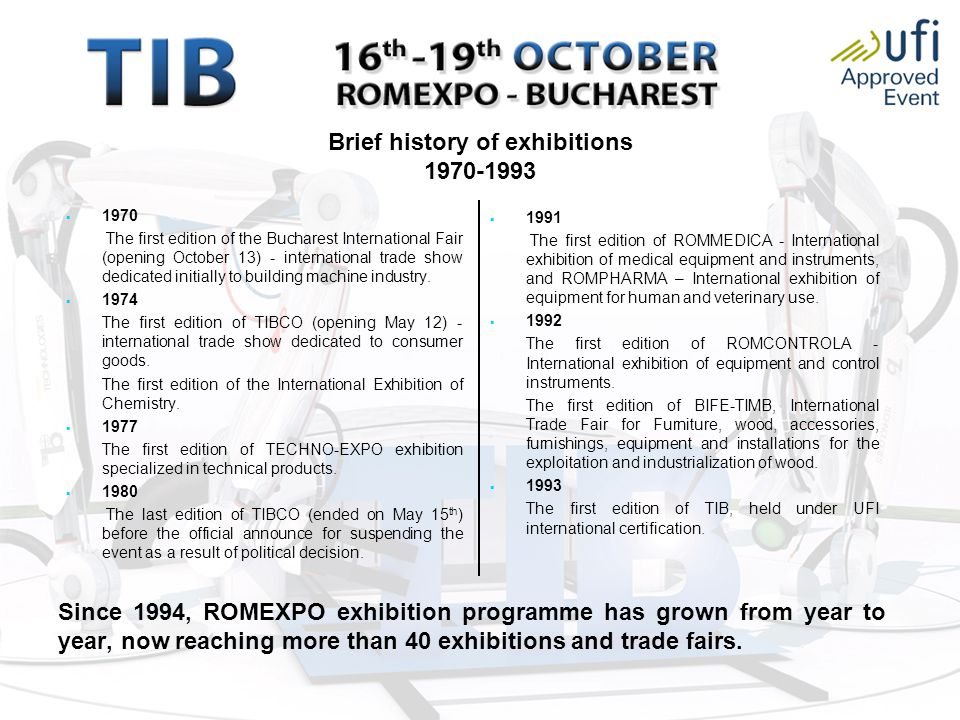 Brief history of exhibitions 1970-1993   1970 The first edition of the Bucharest International Fair (opening October 13) - international trade show