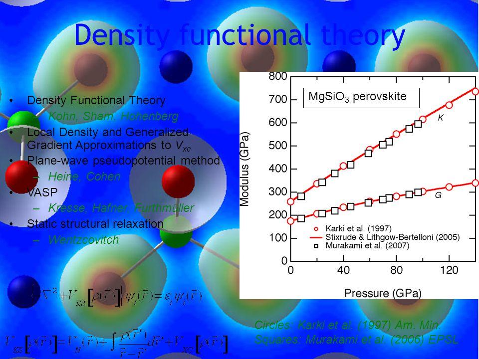Density functional theory Circles: Karki et al. (1997) Am.