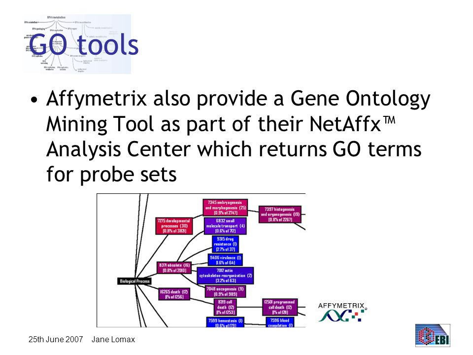 25th June 2007 Jane Lomax GO tools Affymetrix also provide a Gene Ontology Mining Tool as part of their NetAffx™ Analysis Center which returns GO terms for probe sets