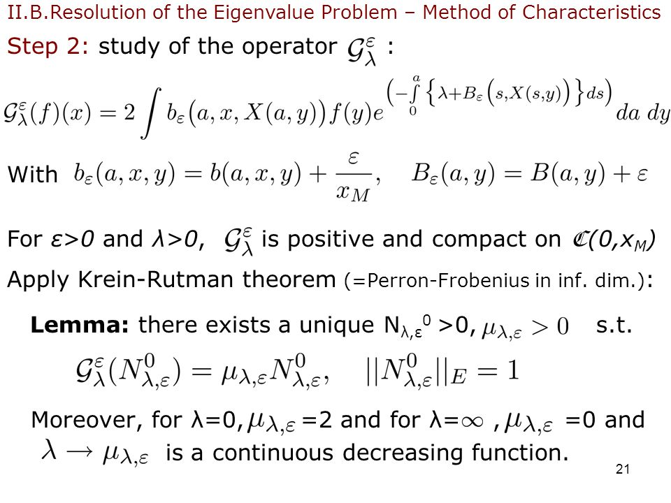 21 Step 2: study of the operator : With For ε>0 and λ>0, is positive and compact on C (0,x M ) Apply Krein-Rutman theorem (=Perron-Frobenius in inf.