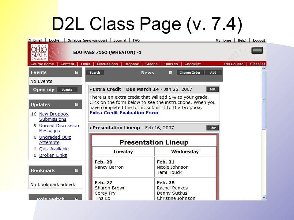 D2L Class Page (v. 7.4)