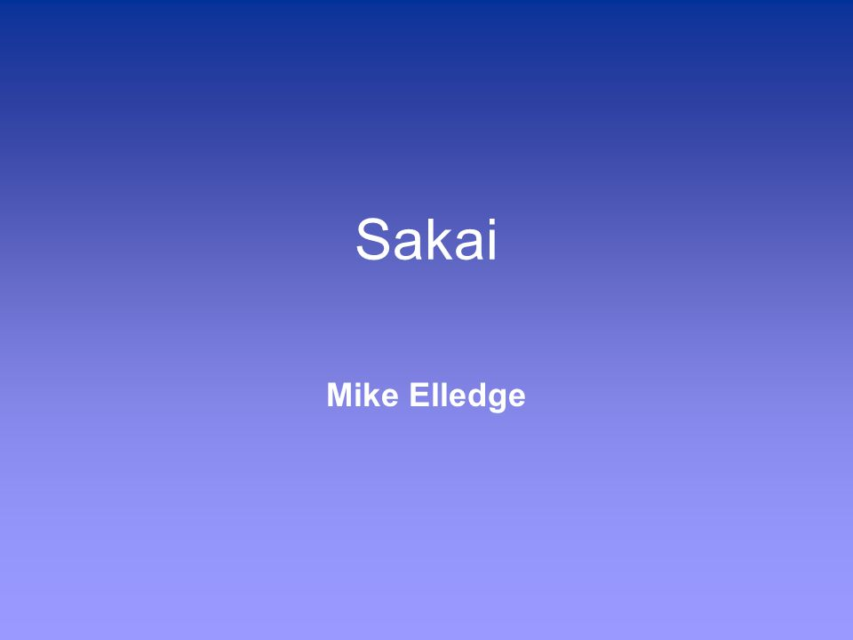 Sakai Mike Elledge