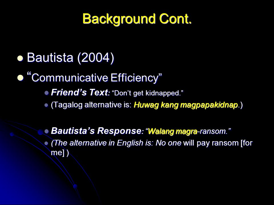 "Background Cont. Bautista (2004) Bautista (2004) "" Communicative Efficiency"" "" Communicative Efficiency"" Friend's Text : ""Don't get kidnapped."" Friend"