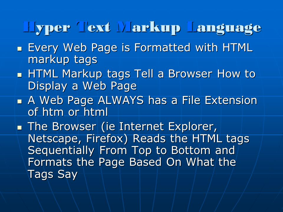 Required HTML Tags The Following HTML Tags are Required/Recommended for Every We Pages <html> Every Web Page Starts with the tag <head> The Starting tag always follows the tag My First Web Page My First Web Page The title tags encompass the title of your page </head> The Ending tag always follows the ending tag <body> Starting body tag Everything that appears on a web page goes between the and tags </body> Ending body tag </html> Ends every web page