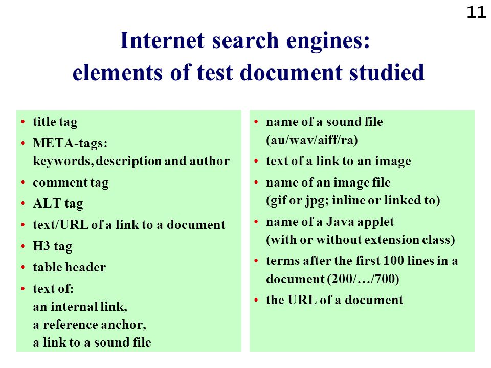 10 Internet search engines : reachability 14 528 queries were sent to 13 search engines. Search engines were 721 times unreachable. The percentage of