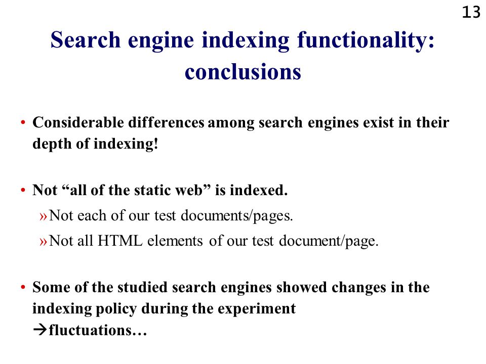 12 Number of the studied document elements that were indexed