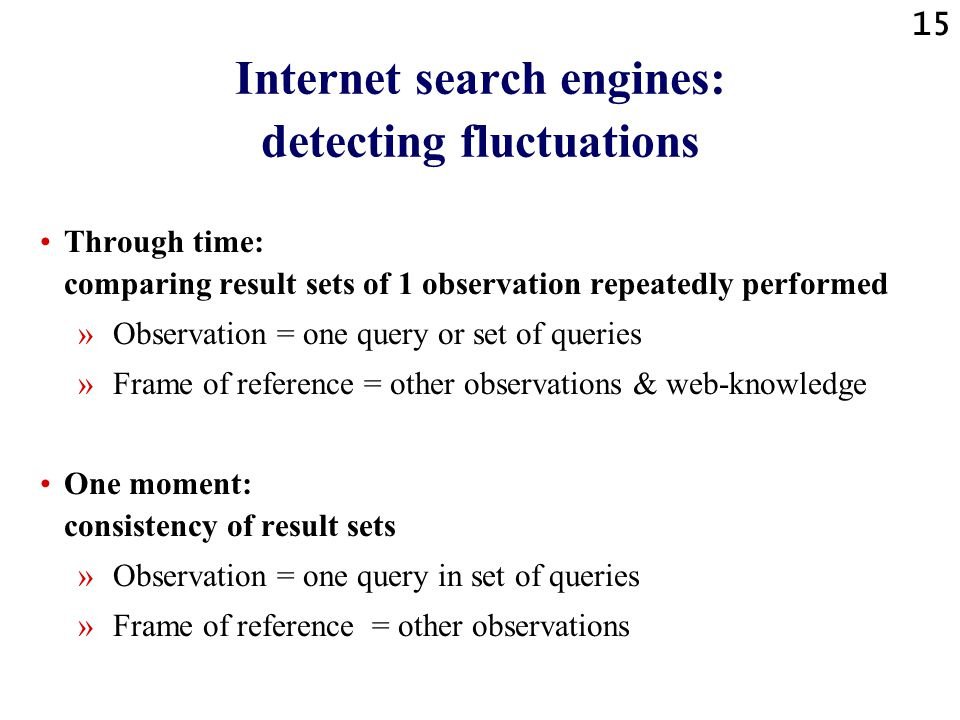 14 Internet search engines: fluctuations - definition A fluctuation appears when the result set of an observation - i.e. » one query or » set of queri