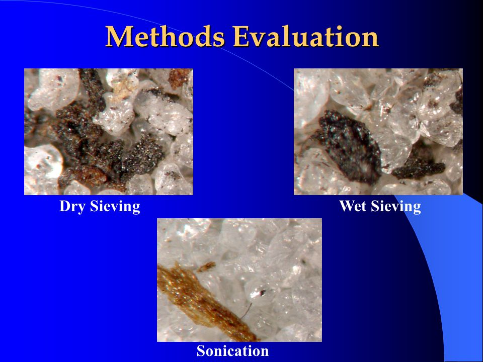 Methods Evaluation Dry SievingWet Sieving Sonication