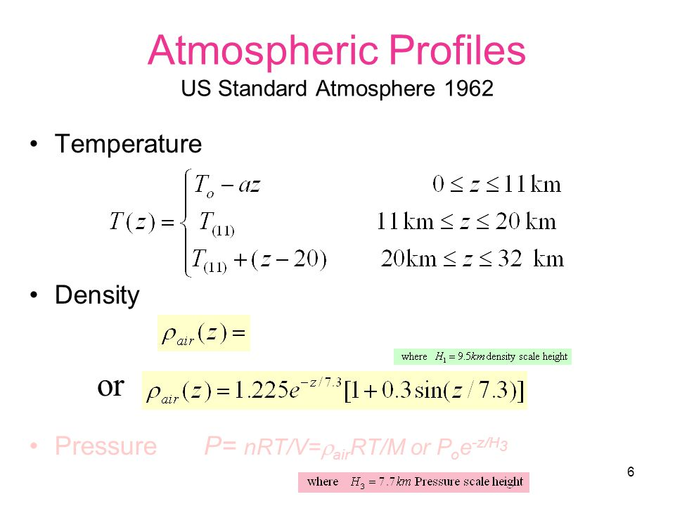 6 Atmospheric Profiles US Standard Atmosphere 1962 Temperature Density Pressure P= nRT/V=  air RT/M or P o e -z/H 3 or