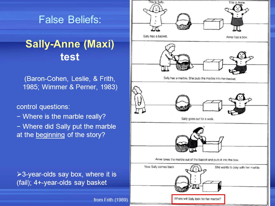 False Beliefs: Sally-Anne (Maxi) test (Baron-Cohen, Leslie, & Frith, 1985; Wimmer & Perner, 1983) control questions: − Where is the marble really? − W