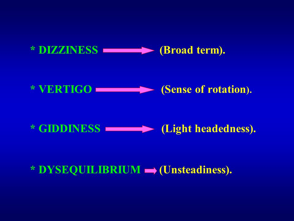 * DIZZINESS (Broad term). * VERTIGO (Sense of rotation ).