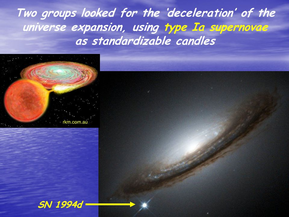 Two groups looked for the 'deceleration' of the universe expansion, using type Ia supernovae as standardizable candles SN 1994d