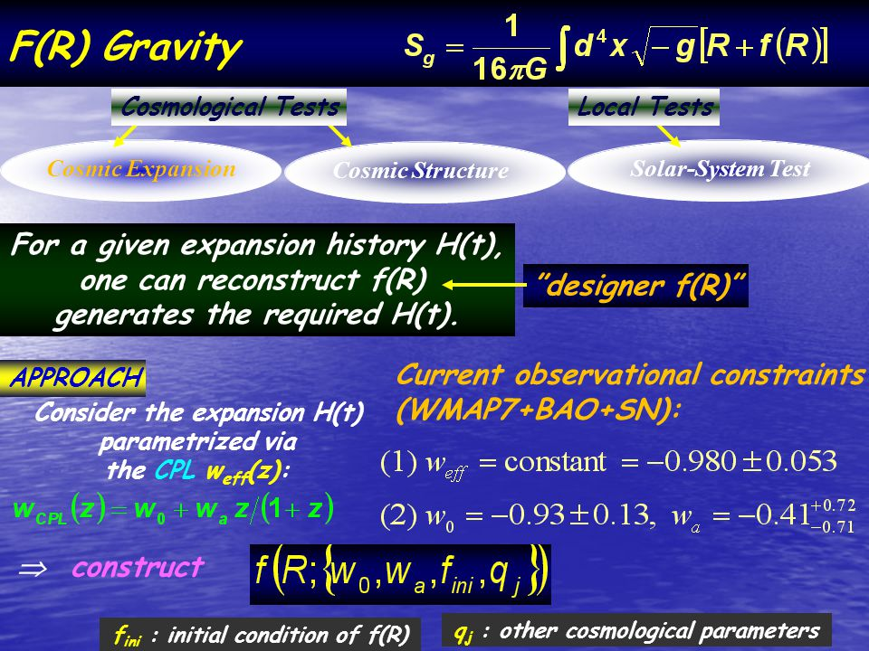 F(R) Gravity Cosmic ExpansionCosmic StructureSolar-System Test Cosmological TestsLocal Tests For a given expansion history H(t), one can reconstruct f