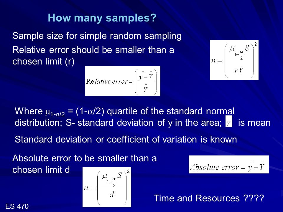 How many samples? Sample size for simple random sampling Relative error should be smaller than a chosen limit (r) Where   -  /2 = (1-  /2) quartil
