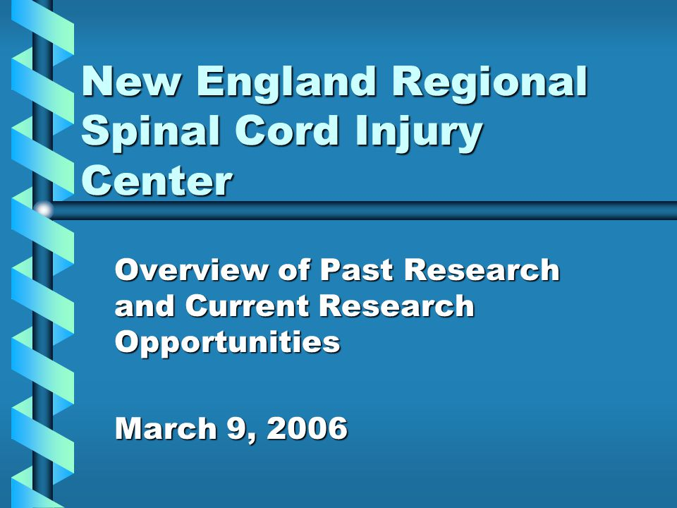 New England Regional Spinal Cord Injury Center Overview of Past Research and Current Research Opportunities March 9, 2006