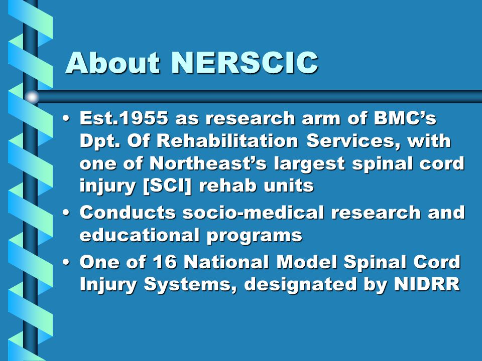 About NERSCIC Est.1955 as research arm of BMC's Dpt.