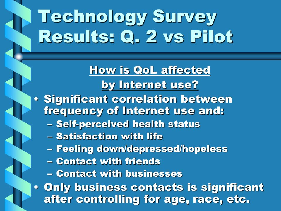 Technology Survey Results: Q. 2 vs Pilot How is QoL affected by Internet use.