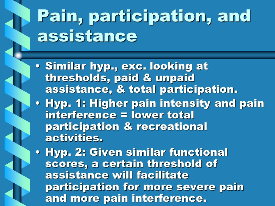 Pain, participation, and assistance Similar hyp., exc.