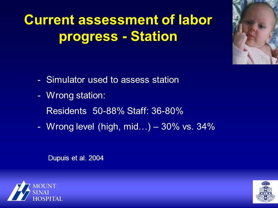 Current assessment of labor progress - Station -Simulator used to assess station -Wrong station: Residents 50-88% Staff: 36-80% -Wrong level (high, mid…) – 30% vs.