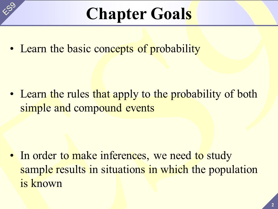 23 ES9 4.4 ~ Rules of Probability Consider the concept of probability and relate it to the sample space Recall: the probability of an event is the relative frequency with which the event could be expected to occur, the long-term average