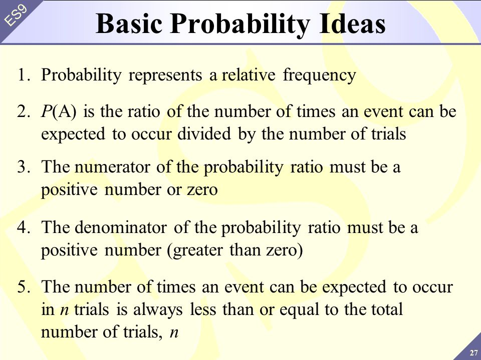 27 ES9 Basic Probability Ideas 1.Probability represents a relative frequency 2.P(A) is the ratio of the number of times an event can be expected to occur divided by the number of trials 3.The numerator of the probability ratio must be a positive number or zero 4.The denominator of the probability ratio must be a positive number (greater than zero) 5.The number of times an event can be expected to occur in n trials is always less than or equal to the total number of trials, n