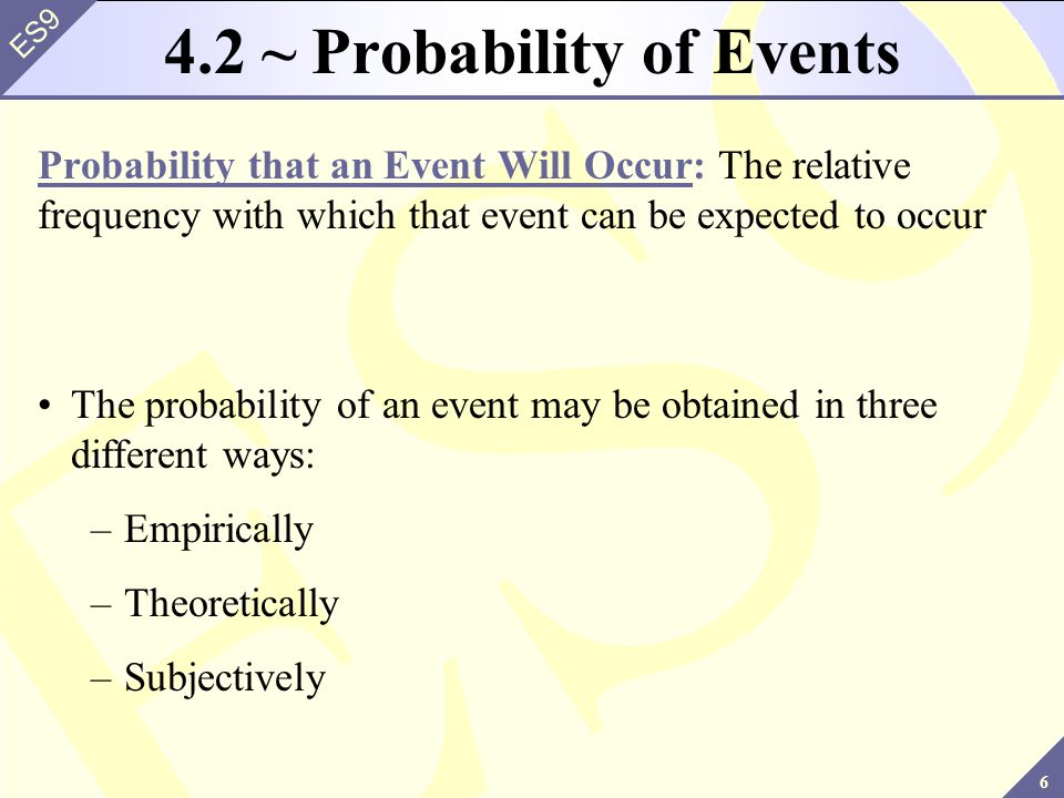 6 ES9 4.2 ~ Probability of Events Probability that an Event Will Occur: The relative frequency with which that event can be expected to occur The probability of an event may be obtained in three different ways: –Empirically –Theoretically –Subjectively