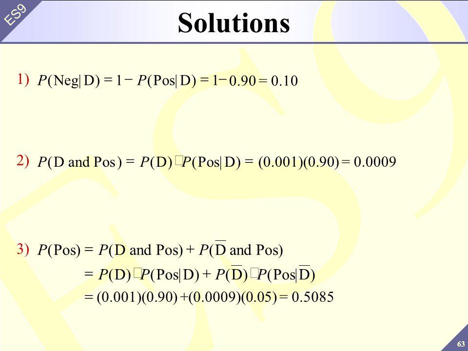 63 ES9 Solutions PP()()Neg|DPos|D  11 1) 0.90 = 0.10 PPP()()()D and PosDPos|D  2) (0.001)(0.90) = 0.0009 PPP PPPP ()()() ()()()(|) PosD and PosD and Pos DPos|DDPosD    3) (0.001)(0.90) +(0.0009)(0.05) = 0.5085