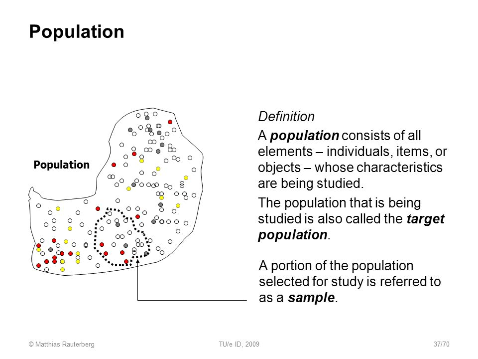 Population and sample Population  Definition  A population consists of all elements – individuals, items, or objects – whose characteristics are bei