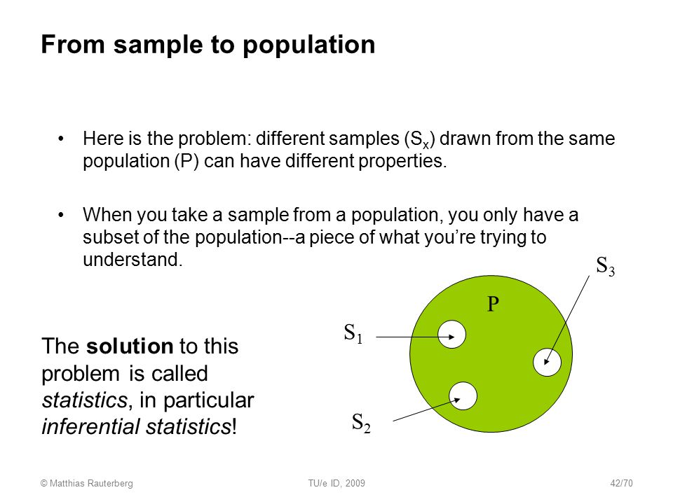 From sample to population Here is the problem: different samples (S x ) drawn from the same population (P) can have different properties. When you tak
