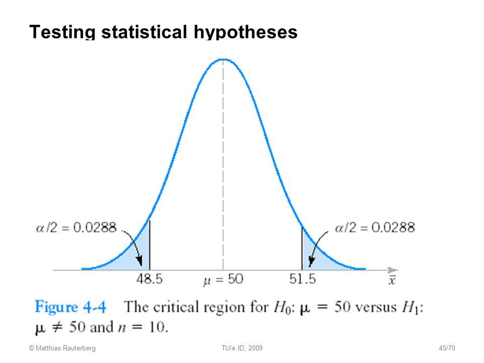 Testing statistical hypotheses © Matthias RauterbergTU/e ID, 200945/70