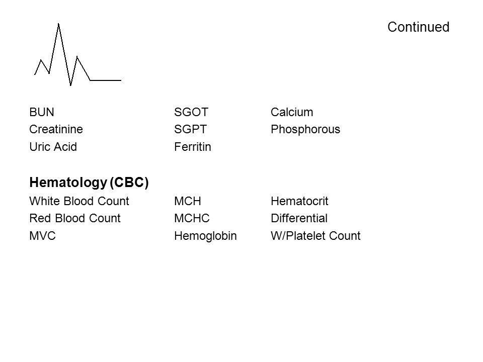 BUNSGOTCalcium CreatinineSGPTPhosphorous Uric AcidFerritin Hematology (CBC) White Blood CountMCHHematocrit Red Blood CountMCHCDifferential MVCHemoglobinW/Platelet Count Continued