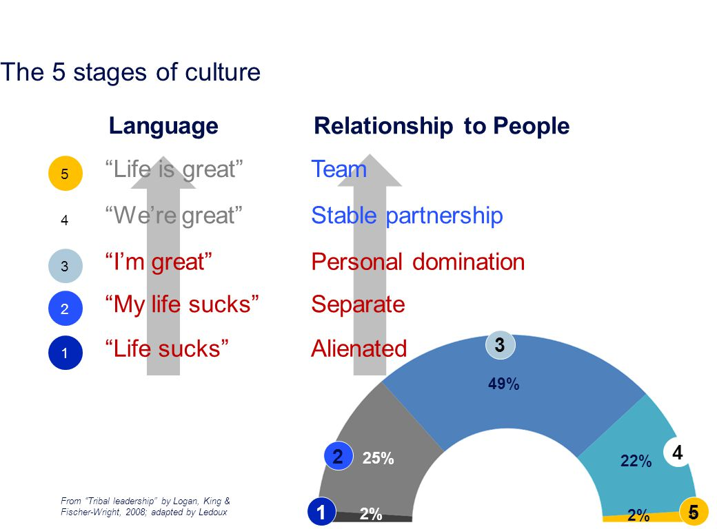 Laurent Ledoux From Tribal leadership by Logan, King & Fischer-Wright, 2008; adapted by Ledoux Alienated Team Life sucks I'm great Life is great 2% 22% 49% 25% 2% Separate Stable partnership My life sucks We're great Language Relationship to People Personal domination The 5 stages of culture 39