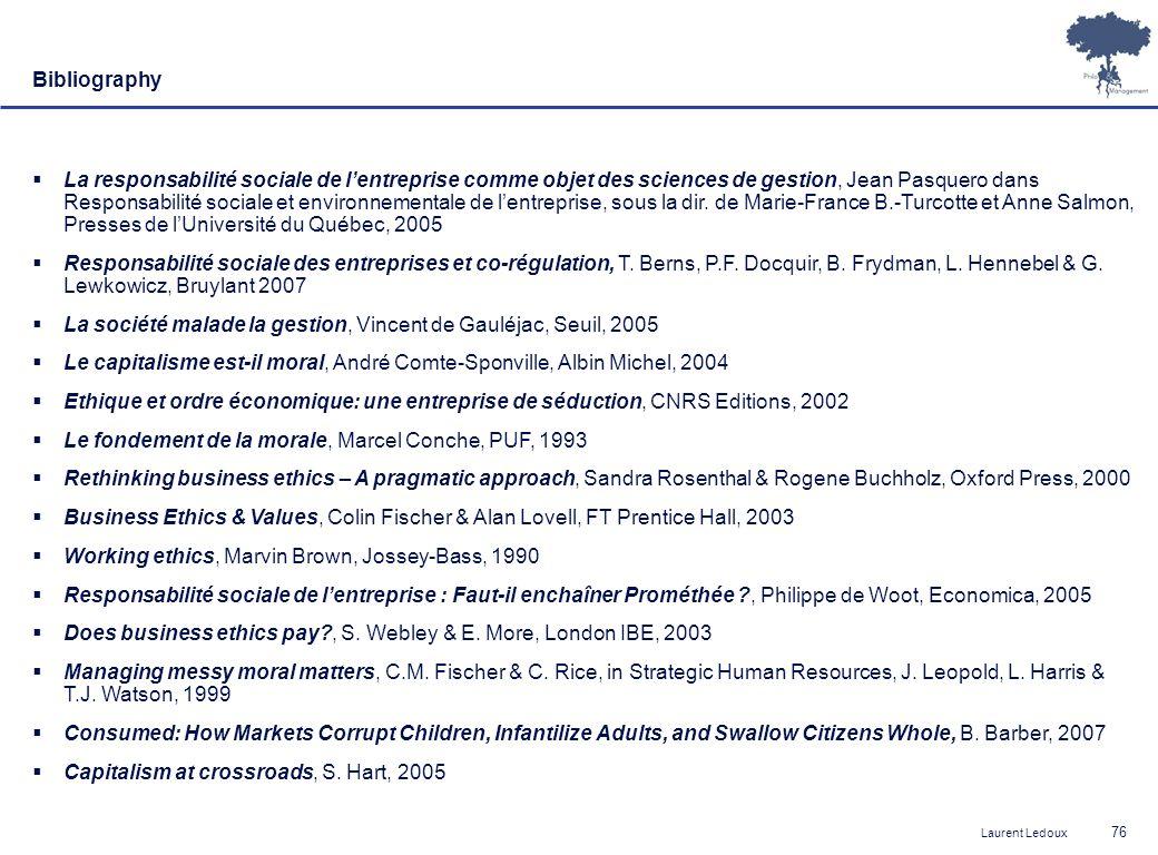 Laurent Ledoux 76 Bibliography  La responsabilité sociale de l'entreprise comme objet des sciences de gestion, Jean Pasquero dans Responsabilité sociale et environnementale de l'entreprise, sous la dir.