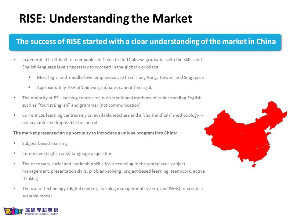 The success of RISE started with a clear understanding of the market in China In general, it is difficult for companies in China to find Chinese gradu