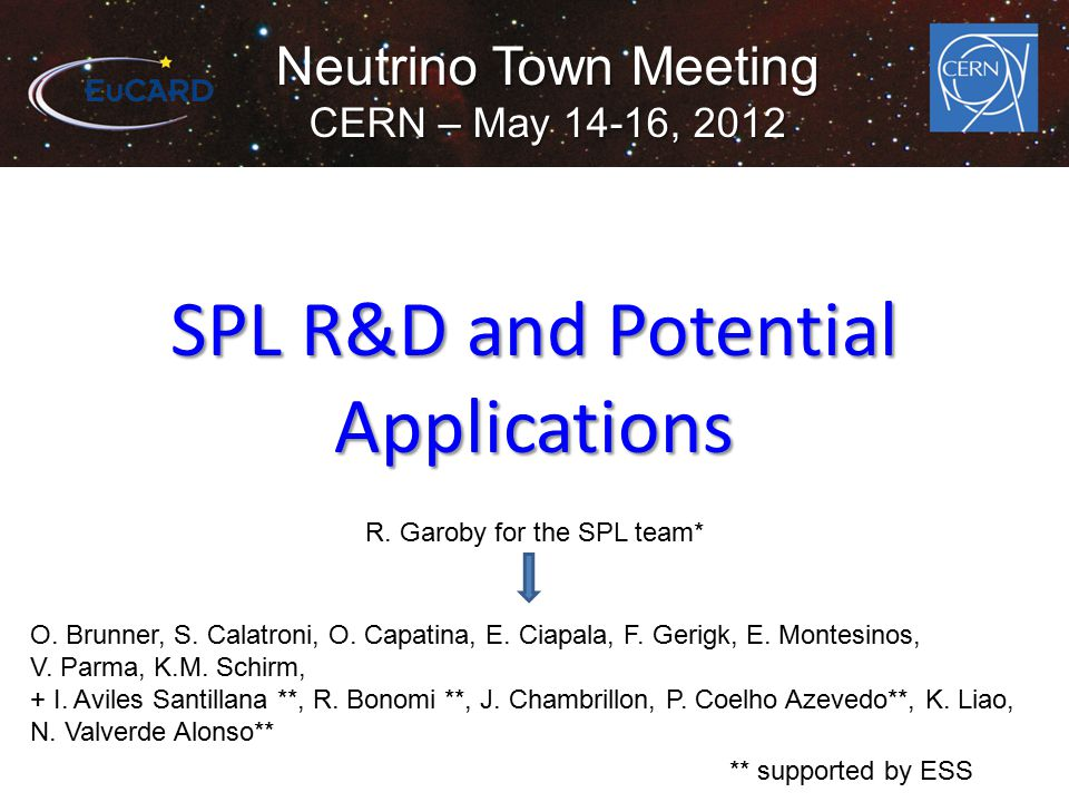Neutrino Town Meeting CERN – May 14-16, 2012 SPL R&D and Potential Applications R.